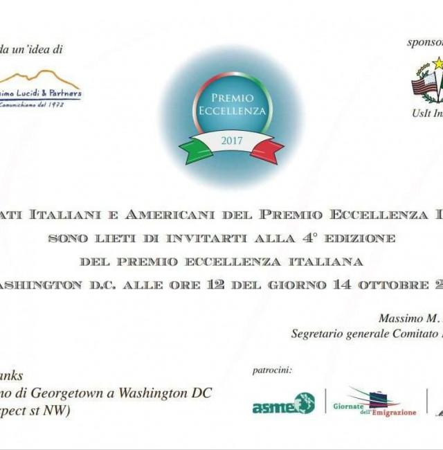 Sabato 14 ottobre a Washington la cerimonia del Premio Eccellenza Italiana