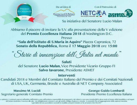 Al Senato si lancia la quinta edizione del Premio Eccellenza Italiana