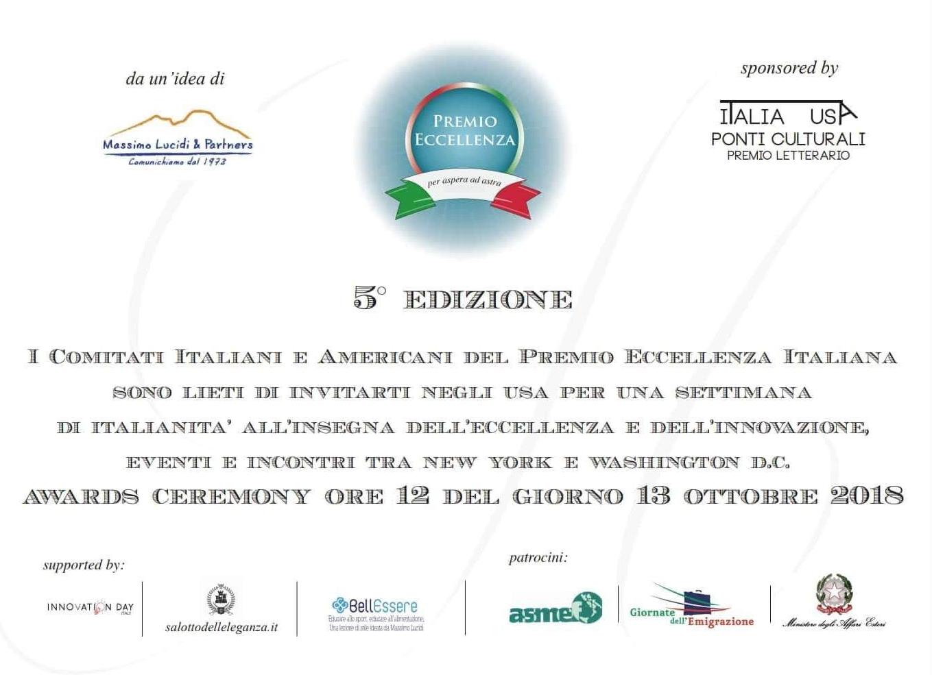 Premio Eccellenza Italiana 2018
