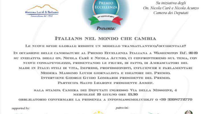 ITALIANS E LE NUOVE SFIDE GLOBALI. PRESENTAZIONE ALLA CAMERA DEI DEPUTATI, MERCOLEDI' 19 GIUGNO ALLE 13,30, CON MASSIMO LUCIDI E SALVO IAVARONE